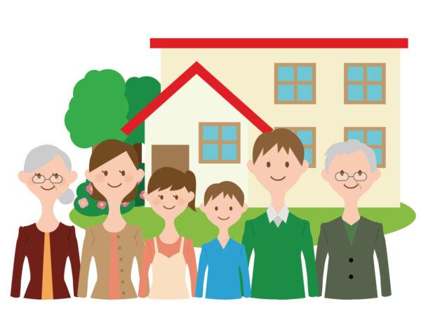 二世帯住宅に住む家族の絵
