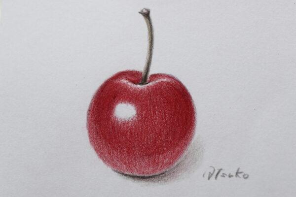 色鉛筆で描いたりんご